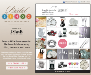 Dillard's Bridal Bingo